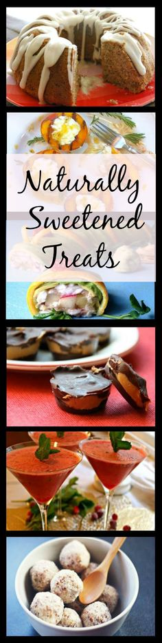 Naturally Sweetened Treats Recipe eBook: 41 dessert and treat recipes using honey, maple syrup, dried fruits, etc.  NO refined sugar, high fructose corn syrup or artificial sweeteners. Most recipes are #GlutenFree & #GrainFree  RealFoodCarolyn.com