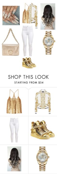 """""""Milk and Honey"""" by edatgirl ❤ liked on Polyvore featuring TIBI, Versace, Giuseppe Zanotti and Rolex"""