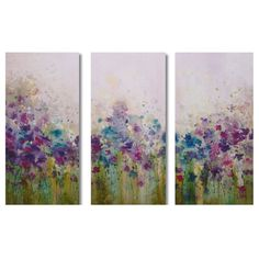 Graham & Brown Set of three Watercolour meadow wall art- | Debenhams