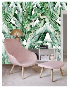 Green Leaf Wallpaper, Plant Wallpaper, Old Wallpaper, Leaves Wallpaper, Bedroom Wallpaper, Tropical Bedrooms, Tropical Leaves, Tropical Plants, Guest Room Office