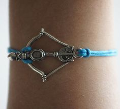 Any size braceletSilver bow and arrow Lake Blue Wax by kahdtfggeg, $1.36