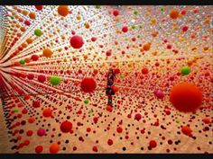"""""""Atomic: Full of Love, Full of Wonder"""" was an installation by Australian artist Nike Savvas. An immense array of suspended bouncy balls creating a dense field of color in the gallery space that was gently moved in waves by a fan Vitrine Design, Art Public, Instalation Art, Bouncy Ball, Picasso Paintings, Art Paintings, Colossal Art, Art Design, Oeuvre D'art"""