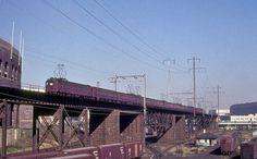 Pennsylvania Railroad MP54's on the High Line in Philadelphia, Pennsylvania on November 24, 1962.