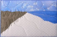 Fabric Postcard - Beach Landscape Mini Art Quilt - Quilted Fabric Postcard via Etsy