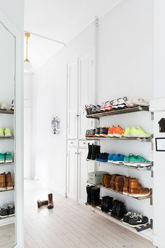 Industrial shoe shelving--possible solution to the shoe menagerie in the master bedroom (currently contained by baskets, which looks neat-ish, but is actually not very functional).