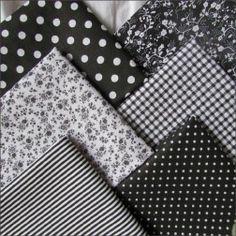 Набор тканей из 6 лоскутов, 100% хлопок, черный