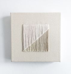 Study of Geometrics Original artwork. Hand-dyed fringe embroidery on natural canvas, stretched on a wood frame. White Wall Art, Textiles, Paper Embroidery, Gold Work, Living Room Art, Paper Art, Printing On Fabric, Wall Art Prints, Original Artwork