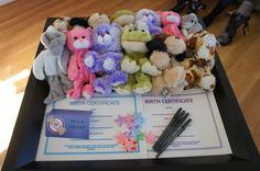 "Stuffed animal ""loot bags"" print out birth certificates for them and let the kids pick which one they want"