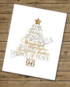 Weihnachten Wortkunst - Jesaja 9:6 - Gold/Braun Digital bedruckbar