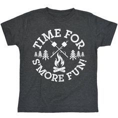 Time For Smore Fun Youth Tee Product Details - 4.3 oz, 100% combed cotton jersey. Athletic Heather is 93/7 cotton/polyester blend. - 1x1 baby rib collar - Printed in USA Sizing and Measurements X-Smal