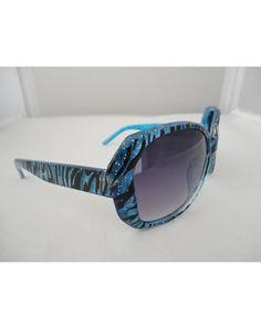 Blue Glitter Zebra Print Babydoll Sunglasses $12.99
