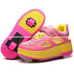 Zapatillas Con Ruedas Heelys Para Niñas [Con 2 Ruedas] - AIMOGE 165B (Rosa) | Tallas: 29|30|31|32|33|34|35|36|37|38|39|40