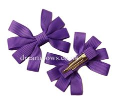 Purple grosgrain ribbon hair bows on alligator clips/slides from www.dreambows.co.uk purple bows, hair bows, girls bows, hair styles, ribbon hair bows, pretty bows, cute bows, small bows, hair clips, hair slides