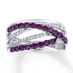 Purple Diamond Ring 1 ct tw Round-cut 14K White Gold