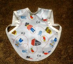 Waterproof Bapron/The Baby Apron - 6-18 months with Pirate Print/white trim by GrandmaSewsBest on Etsy