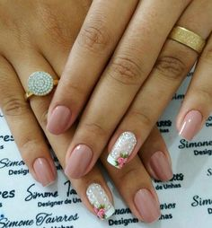 #unasdecoradas Manicure E Pedicure, Mani Pedi, Cute Spring Nails, Hand Art, Flower Nails, 3d Nails, Hair Hacks, Pretty Nails, Flower Designs