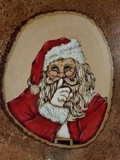 """Wood Burned and Hand Painted """"Shh """" Santa Claus by JulesPaints on Etsy - Decor Wood Burning Crafts, Wood Burning Patterns, Wood Burning Art, Wood Crafts, Christmas Rock, Christmas Colors, Christmas Crafts, Santa Christmas, Christmas Ideas"""