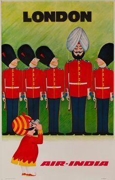 Retro Air India Poster #london #adcampaign #india #tourist