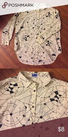 """Vintage 80's abstract print button-up Vintage 80's abstract print button-up, tag reads """"special events"""", size 40 poly cotton blend, cream/pale yellow. High-low length: front 28.5"""" long, back 30.5"""" long. Chest 45"""" no holes or stains Vintage Tops Button Down Shirts"""