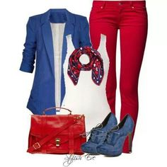 Red, white and blue.. good outfit for the 4th....I have a red pencil skirt