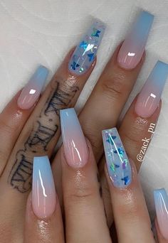 Blue acrylic nails with butterfly nail designs Cute Acrylic Nail Designs, Beautiful Nail Designs, Acrylic Nail Designs Coffin, Acrylic Nails With Design, Solar Nail Designs, Dope Nail Designs, Coffin Nails Designs Summer, Butterfly Nail Designs, Aycrlic Nails