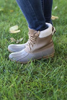 Taupe duck boots with shearling lining. Fits true to size. Picture by M. Roberts Photography.