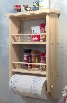 Unfinished Spice curio paper towel solid wood with rails Wood Shelves, Shelving, Pallet Furniture, Furniture Design, Woodworking Plans, Woodworking Projects, Woodworking Skills, Home Crafts, Diy Home Decor