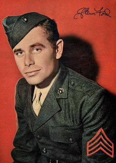 U.S. Marine Corps Sgt. Glenn Ford, 1943. Ford was assigned in March 1943 to active duty at the Marine Corps Base in San Diego. He was sent to Marine Corps Schools Detachment (Photographic Section) in Quantico, Virginia, three months later, with orders as a motion-picture production technician. Promoted to sergeant, Ford returned to the San Diego base in February 1944 and was next assigned to the radio section of the Public Relations Office, Headquarters Company, Base Headquarters Battalion.