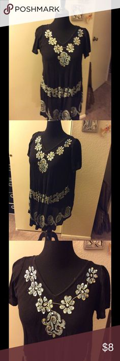 Black cotton gauze top This top is a one size fits most. There's embroidery & sequins along the front neckline Tops Tunics