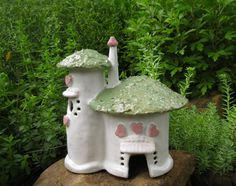 Ceramic Fairy Cottage handbuilt Hearts and Roses clay house