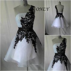 vestido de fiesta corto vestido formal, vestido corto, vestido de cóctel corto un hombro vestido de noche corto blanco negro de Organza y encaje
