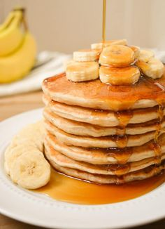 Vegan Banana Milk Pancakes are an allergy-friendly, egg-free, dairy-free and nut-free breakfast! They're perfectly sweetened w/ ripe bananas & coconut sugar keeping them refined-sugar-free as well! Top this banana-filled pancake stack w/ extra banana slices and a good covering of maple syrup for an easy weekend brunch!