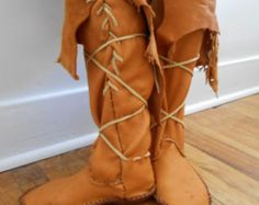 Handmade, Hand Sewn Tall Moccasins, Boots, Native American, Custom Made by Oglala Lakota Artist, Hippie, Bohemian, Gypsy