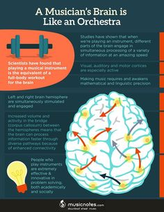 Learn The Many Ways That Music Benefits Your Mind – Fun Animated Infographic.  For example, did you know that playing music increases memory, coordination, and can actually alter your brain's structure? School students who study music are more likely to perform better in non-music subjects, and taking piano lessons later in life has shown to have direct physical benefits in older adults including lowered blood pressure, less stress and increased cognitive abilities.