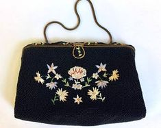 WhirleyShirley by WhirleyShirley on Etsy Vintage Purses, Vintage Handbags, Vintage Brooches, Vintage Jewelry, Vintage Clothing, Beaded Purses, Beaded Bags, Beauvais, Tambour Embroidery