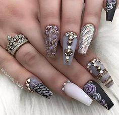 Ballerina Nails Ideas That Speak For Themselves ★ Sparkling Ballerina Nail Designs with Stones Picture 4 ★ Long Nail Designs, Beautiful Nail Designs, Acrylic Nail Designs, Nail Art Designs, Cute Acrylic Nails, Cute Nails, Pretty Nails, Pastel Nails, Nagel Bling
