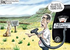 obama Ozone Standard to high at Texas Big Bend National park, yet there is no industry pollution there. Cartoon by A.F.Branco ©2015