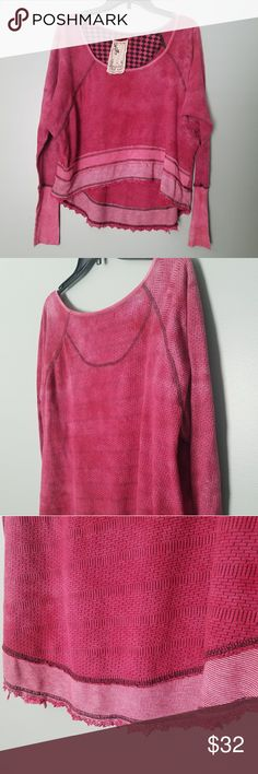 Anthropologie/Scrapbook Women's Top Size Medium, Made in the USA, pink/black, lower in the back than front. Super soft, long sleeve. Scrapbook Tops