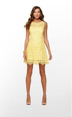 Lilly Pulitzer- Foley Dress in Starfruit Yellow Batt Your Eyes