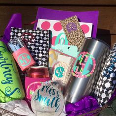 We just 💞 the custom monogram basket we put together for a local customer!