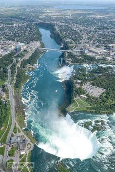 Helicopter ride over Niagara Falls / A bird's eye view of magnificent Niagara Falls -----the spectacular horseshoe falls are ours (on the Canadian side) :) Wonderful Places, Great Places, Places To See, Beautiful Places, Kids Places, Amazing Places, Beautiful Waterfalls, Birds Eye View, Canada Travel