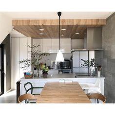 Interior Walls, Kitchen Interior, Interior Styling, Interior Design, Wood Ceilings, Kitchen Collection, Japanese House, Living Room Kitchen, Interior Architecture