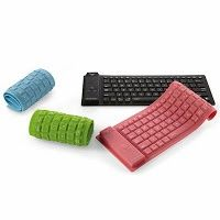 Type a quick email home using a roll-up keyboard. #travel #gadget