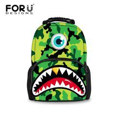 Cool 3D Cartoon Monster Printing Women Backpacks Camouflage Children School Backpack Casual Girls Rucksack Tourism Backpack #Affiliate