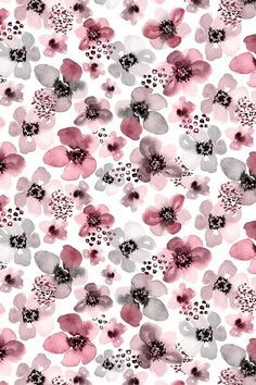 Painted Berry Floral by angelger28 - Hand painted watercolor flowers in pink and gray on fabric, wallpaper, and gift wrap.  Beautiful floral pattern in a painterly watercolor style.