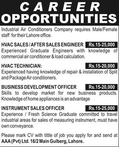 AAA Pvt Ltd Lahore Jobs
