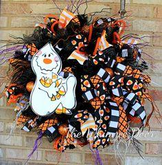 Halloween Wreath, Fall Wreath, Ghost Wreath, Candy Corn Wreath, Fall Deco Mesh Wreath, Halloween Deco Mesh Wreath, Burlap Wreath, Door Decor by TheWhimzeeDoor on Etsy