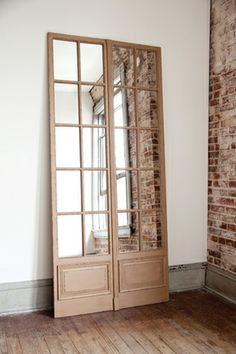 Park Hill Collections Folding Mirror Scree- we could layer this behind entry table. Old Window Screens, Cool Lock Screens, Front Door With Screen, Park Hill Collection, Wooden Screen, Industrial Apartment, Floor Mirror, Lock Screen Wallpaper, Great Rooms