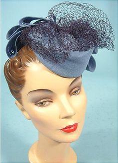 "1940's BETTY CO-ED from Henry Pollack Cornflower Wool ""Doll"", ""Toy"", ""Tilt"" Hat"
