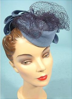 "1940s BETTY CO-ED from Henry Pollack Cornflower Wool ""Doll"", ""Toy"", ""Tilt"" Hat."
